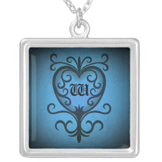 Monogramme romantique de coeur pendentif carré