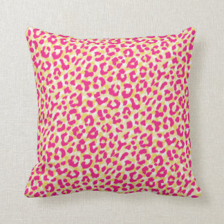 Monogramme rose coloré Girly d'impression de Coussin