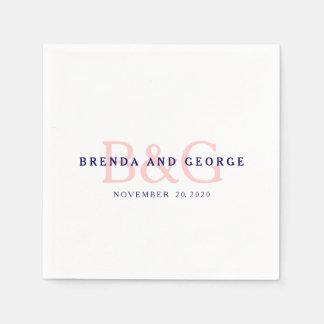 Monogramme rose de bleu marine épousant les serviette en papier