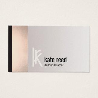 Monogramme rose de carré de rayure d'or d'en cartes de visite
