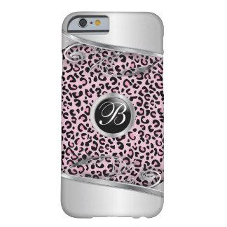 Monogramme rose de l'impression   de léopard et en coque iPhone 6 barely there
