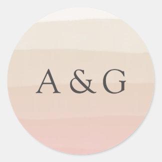 Monogramme rose de mariage d'Ombre d'aquarelle du Sticker Rond