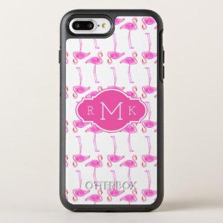 Monogramme rose du motif | de flamant coque otterbox symmetry pour iPhone 7 plus