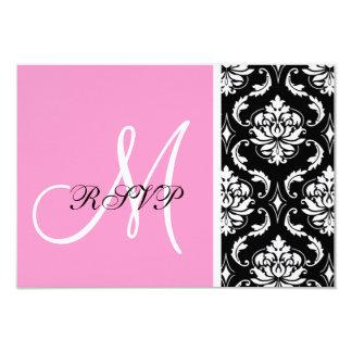 Monogramme rose et noir de damassé épousant RSVP Carton D'invitation 8,89 Cm X 12,70 Cm