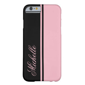 Monogramme rose et noir de rayure coque iPhone 6 barely there