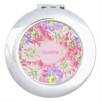 Monogramme rose et pourpre assez floral miroir compact