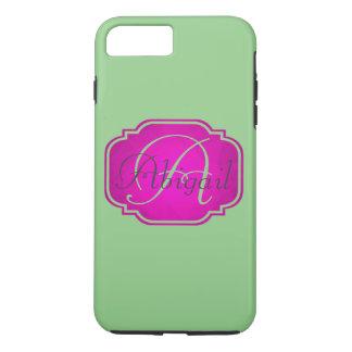 Monogramme - rose et vert personnalisables coque iPhone 7 plus