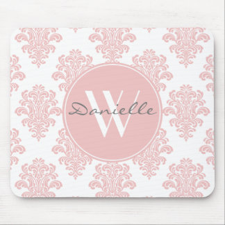 Monogramme rose Girly de damassé Tapis De Souris