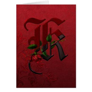 Monogramme rose gothique K Carte De Vœux