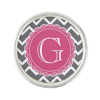 Monogramme rose gris de Chevron Pin's