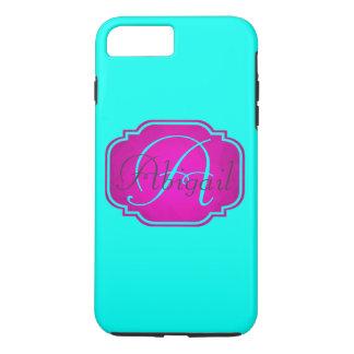 Monogramme - rose personnalisable et bleu coque iPhone 7 plus