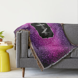 Monogramme rose pourpre d'étincelles de couvre pied de lit