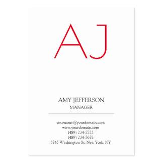 Monogramme rouge blanc élégant vertical simple carte de visite grand format