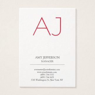 Monogramme rouge blanc élégant vertical simple cartes de visite