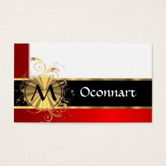 Monogramme rouge de blanc et d'or cartes de visite