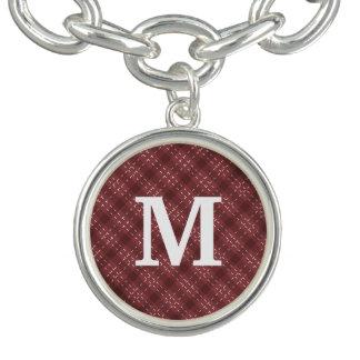Monogramme rouge de flanelle bracelet