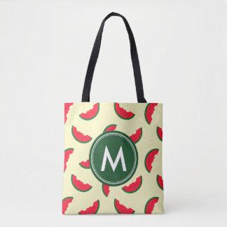 Monogramme rouge de motif de pastèque d'été fruité sac