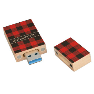 Monogramme rouge de nom de plaid de contrôle de clé USB 3.0 en bois