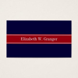 Monogramme rouge de nom de ruban de canneberge cartes de visite