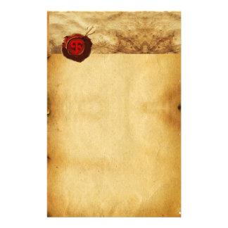 Monogramme ROUGE de PARCHEMIN de JOINT de CIRE Papier À Lettre Personnalisable