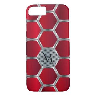 Monogramme rouge et argenté géométrique moderne coque iPhone 7