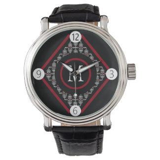 Monogramme rouge et blanc avec les motifs inspirés montre