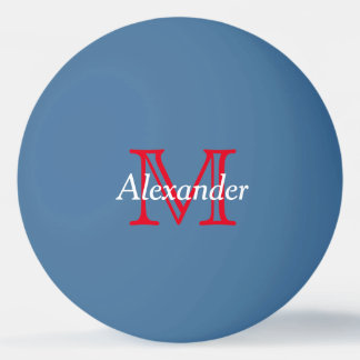 Monogramme rouge et blanc sur le bleu balle tennis de table