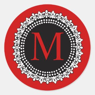 Monogramme rouge M Fleur de lis Wedding de Noël Sticker Rond