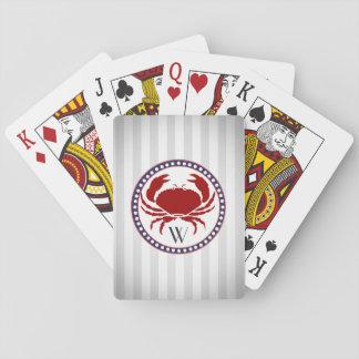 Monogramme rouge nautique de rayures de crabe et jeux de cartes
