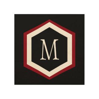 Monogramme rouge, noir et blanc élégant de cercle canevas en bois