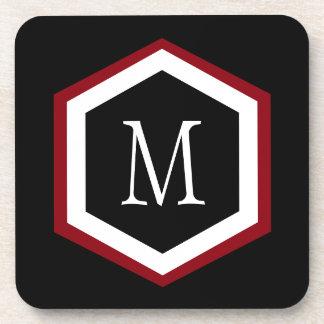Monogramme rouge, noir et blanc élégant de cercle dessous-de-verre