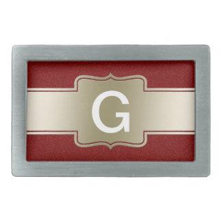 Monogramme rouge personnalisé de scintillement et  boucle de ceinture rectangulaire