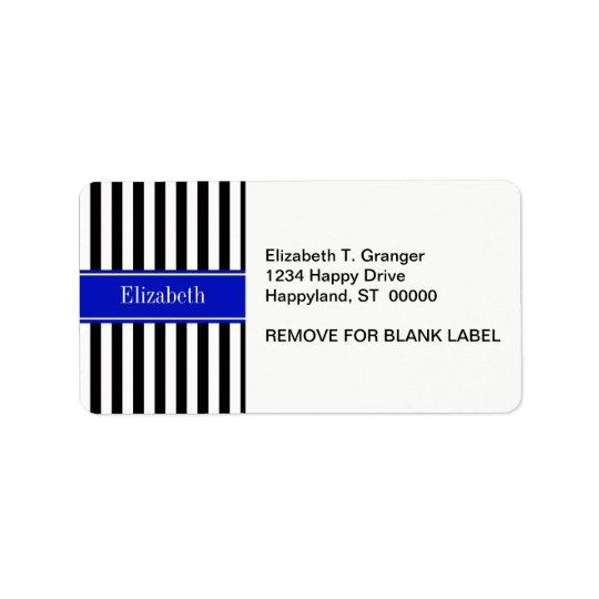 Monogramme royal de nom de ruban bleu de rayure étiquette d'adresse