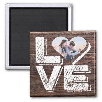 Monogramme rustique de cadre de coeur de photo de aimant