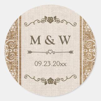 Monogramme rustique de mariage de dentelle de sticker rond