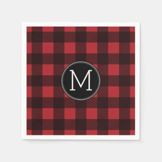 Monogramme rustique de motif de plaid de Buffalo Serviette Jetable