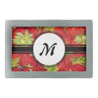 Monogramme sain d'ajustement de fraise mignonne boucles de ceinture rectangulaires