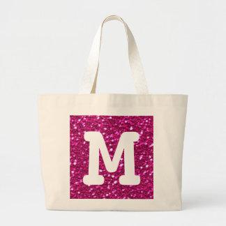Monogramme scintillant de regard de scintillement grand tote bag