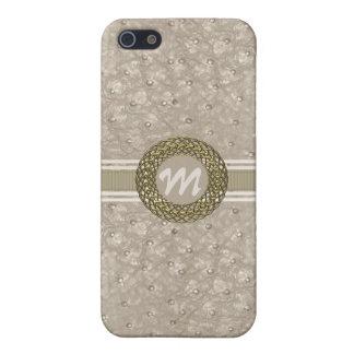Monogramme simili cuir d'autruche chic de Tan lége Étuis iPhone 5