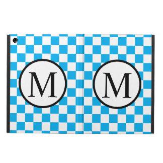 Monogramme simple avec le damier bleu