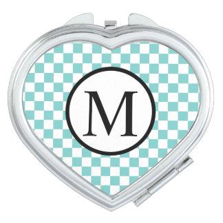 Monogramme simple avec le damier d'Aqua Miroirs De Maquillage
