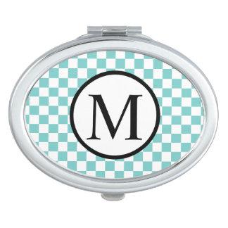Monogramme simple avec le damier d'Aqua Miroirs De Voyage