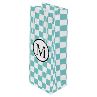 Monogramme simple avec le damier d'Aqua Sac Cadeau Pour Bouteille