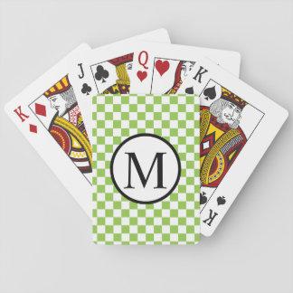 Monogramme simple avec le damier de vert jaune jeu de cartes