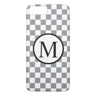 Monogramme simple avec le damier gris coque iPhone 7 plus