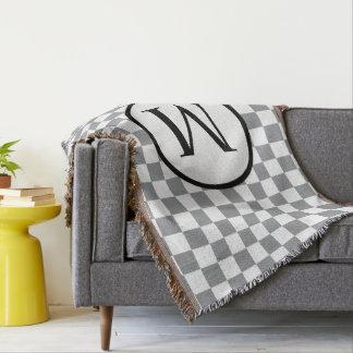Monogramme simple avec le damier gris couverture