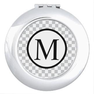 Monogramme simple avec le damier gris miroir de maquillage