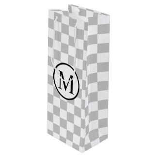 Monogramme simple avec le damier gris sac cadeau pour bouteille