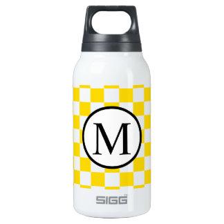 Monogramme simple avec le damier jaune bouteilles isotherme