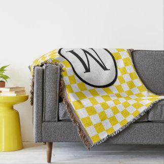 Monogramme simple avec le damier jaune couvre pied de lit